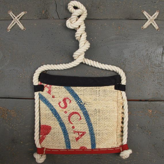 Handmade purse made from recycled men's jeans and coffee sack , by Eating the goober