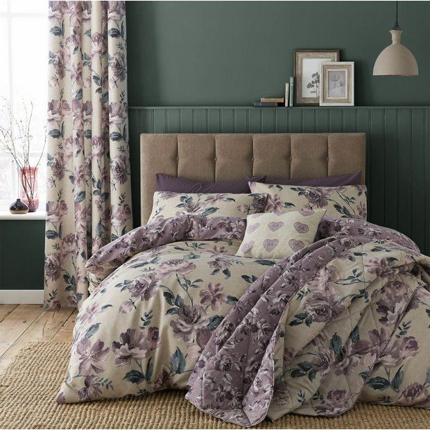 Buy Catherine Lansfield Painted Floral Plum Bedding Set Double Duvet Cover Sets Argos Plum Bedding Floral Duvet Sets Duvet Sets