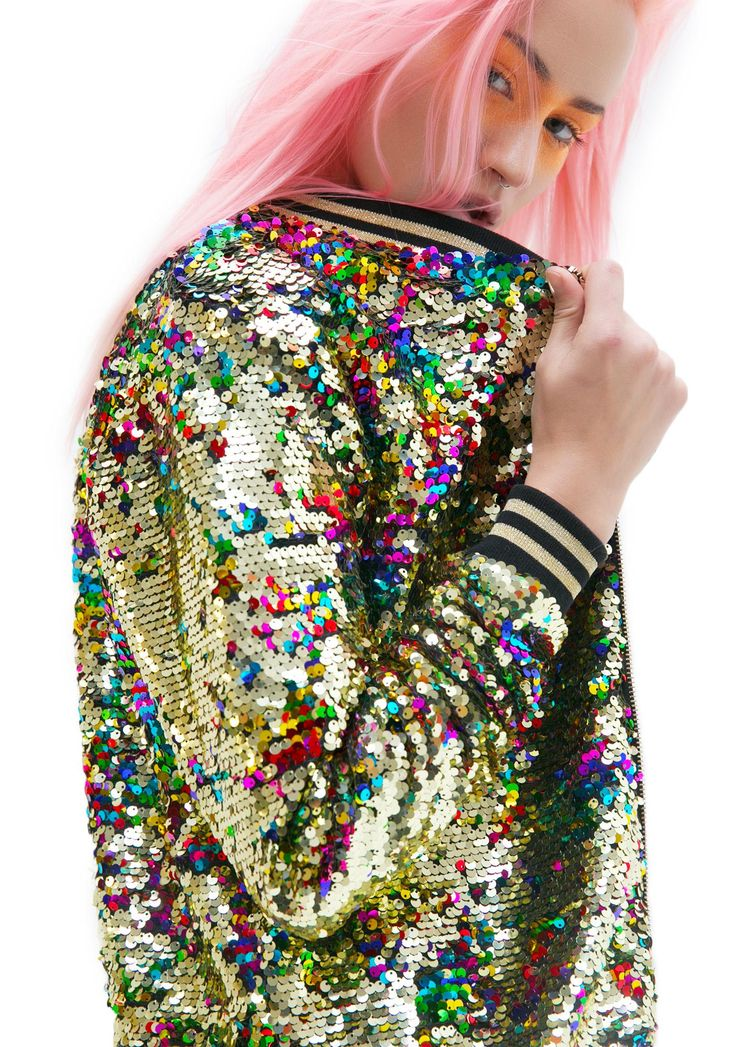 Jaded London Rainbow Sequin Bomber Jacket                                                                                                                                                                                 More