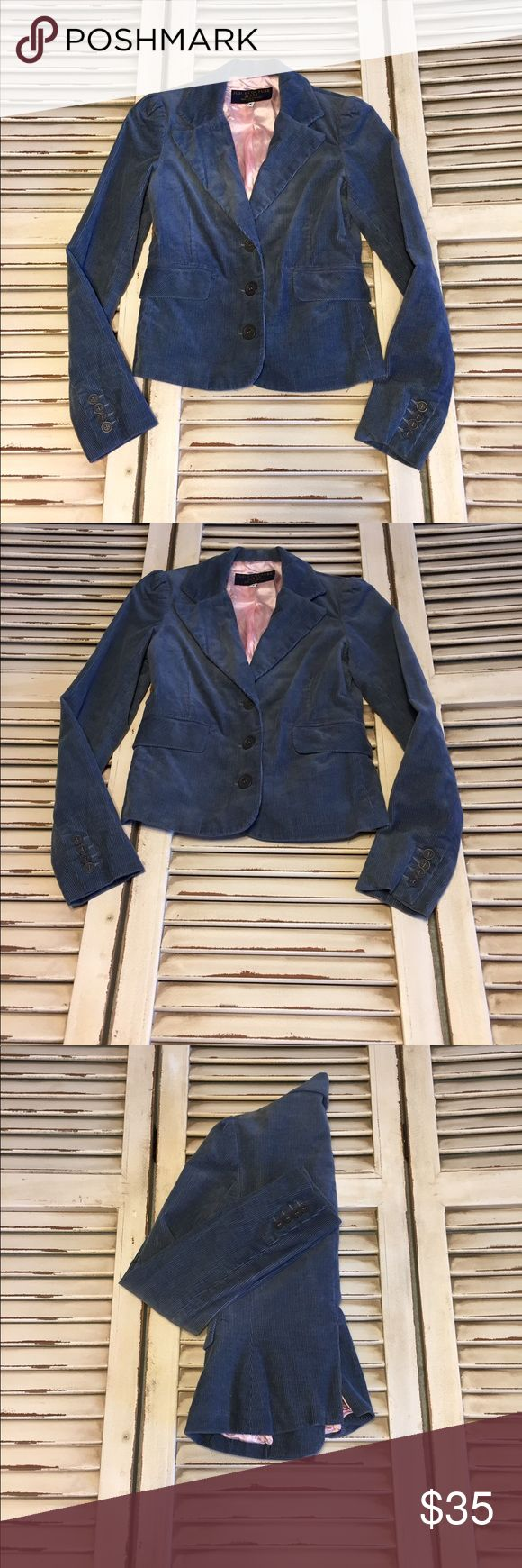 EUC Sz Sm Juicy Couture Blue Corduroy Jacket Beautiful Juicy Couture Blue Corduroy Jacket in excellent condition. Well cared for. Comes from smoke free and pet free home. All of my items are shipped fresh and clean. BUNDLE AND SAVE! 30% OFF BUNDLES OF TWO OR MORE! Juicy Couture Jackets & Coats