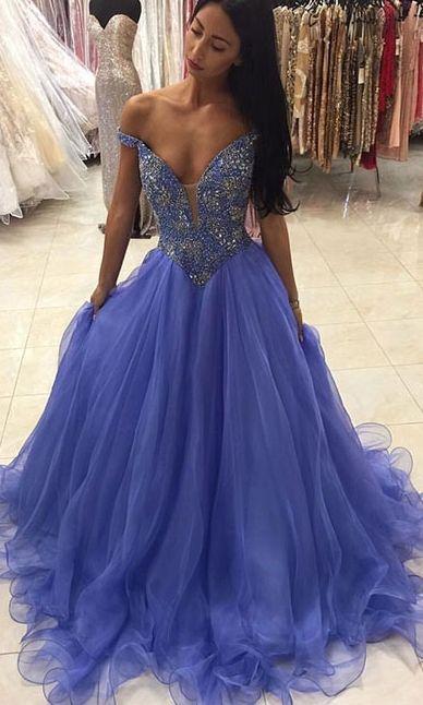 Sexy Prom Dresses, Unique off shoulder v neck sequin long prom dress, evening dress - Sweetheart Girl Store Dresses