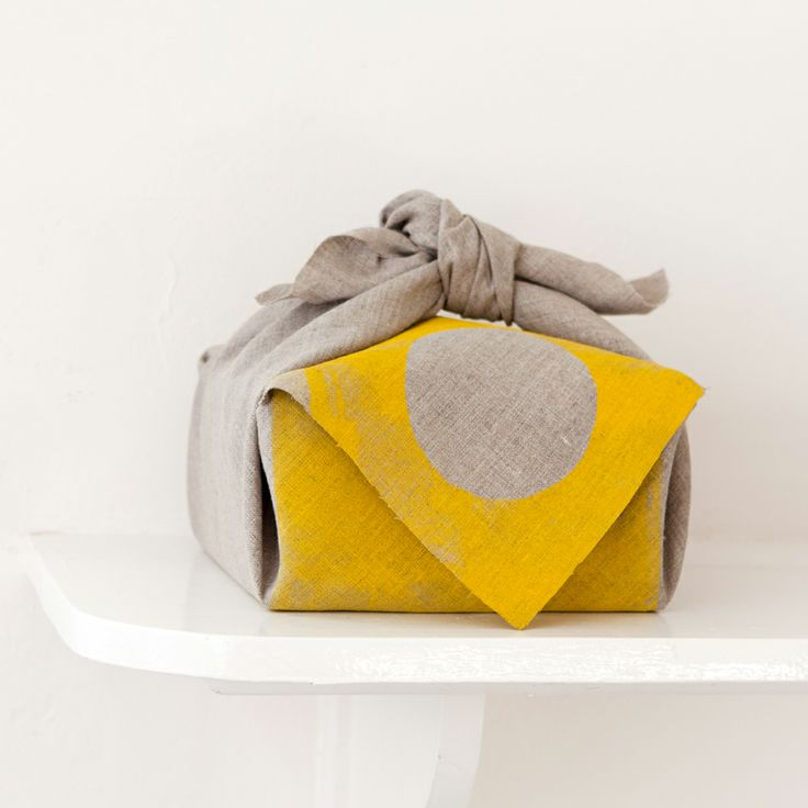 GELATO YELLOW $185.00  Stoneware Promise Keeper with satin white glaze, hand printed gelato yellow raw linen furoshiki, carbonized bamboo frame and stone white note paper.  Promise Keeper D13cm H12cm.  Furoshiki 65cm x 65cm Box 20cm x 20cm   Each piece is hand made so individual variations may occur.  Free Postage any where in Australia.