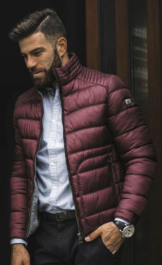 021a66808 Cranberry Red puffer jacket light blue button up shirt navy trousers ...
