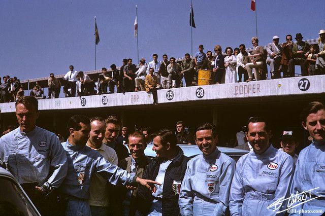 Dan Gurney, Pedro Rodriguez (?), John Surtees, Jo Siffert, Richie Ginther, Bruce McLaren, Jim Clark, Jack Brabham and Graham Hill -- Mexico Grand Prix, 1964
