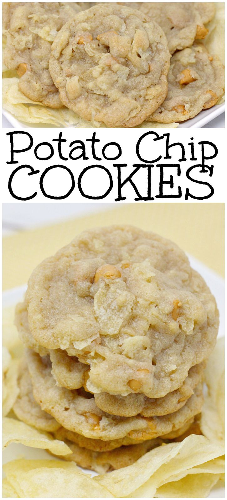 Potato Chip Cookies are the perfect combination of salty and sweet! The butterscotch chips and potato chips pair together so well in these cookies! Easy cookie recipe from Butter With A Side of Bread via @ButterGirls