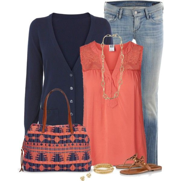 Coral & Navy, created by immacherry on Polyvore