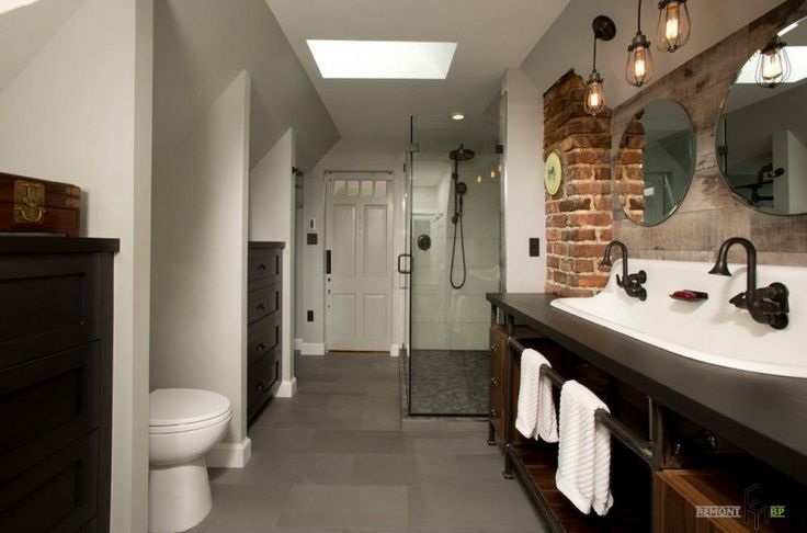 A Luxurious Bathroom With Natural Brick Accent Nearby Amusing Wooden Sinks With Round Frameless Mirrors And Glass Showerig Room Awesome Loft House Design with Exposed Brick Wall Interior in Unique Beauty Plan Home design, Interior Design