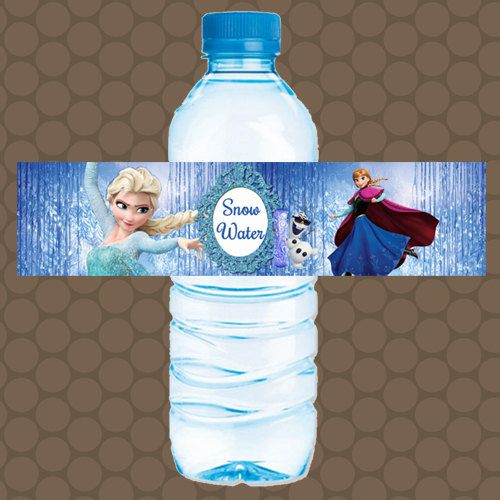 Frozen anna elsa water bottle labels wrappers stickers printable uprint digital diy instant download by kdesigns2006