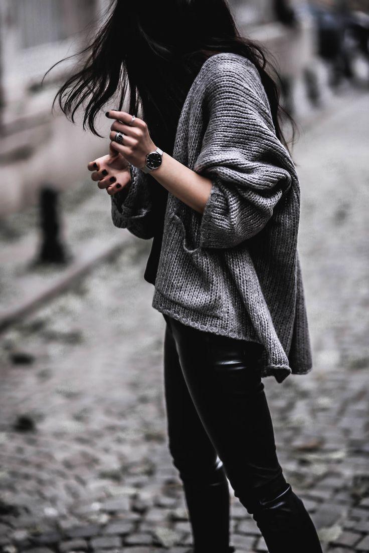 BLACK & GREY – Belle Melange grey cardigan/lace cami/faux Leather pants