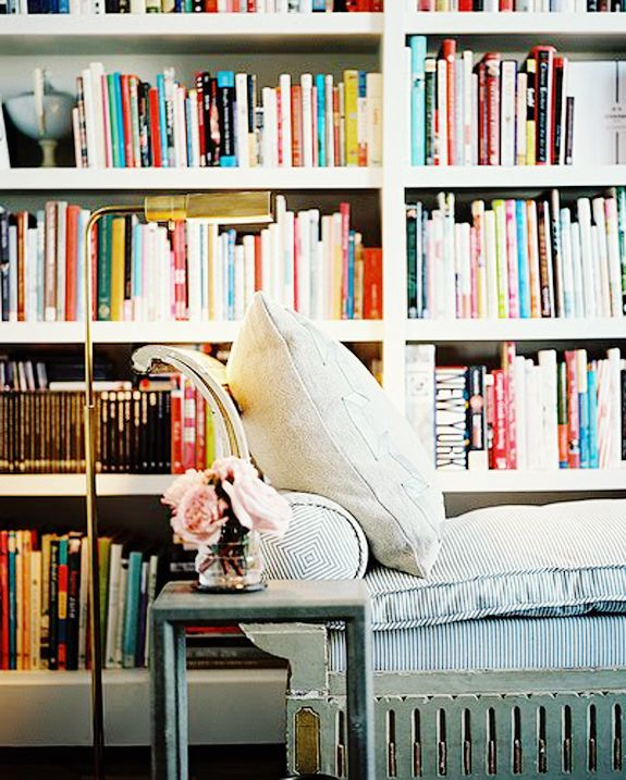 Personal library via Brunch at Saks: Chai Lounges, Bookshelves, Reading Area, Home Libraries, Books Shelves, Interiors Design, Reading Nooks, Floors Lamps, Reading Spots