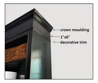 Crowns cabinets and bookcases on pinterest for Adding crown molding to existing kitchen cabinets