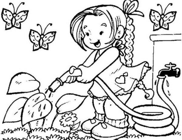 Little Girl Watering Flower On Garden Coloring Page Spring