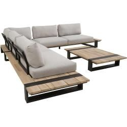4Seasons Duke Loungeecke 4-teilig Aluminium/Teak inklusive Kissen Anthrazit/Grau 4 Seasons Outdoor