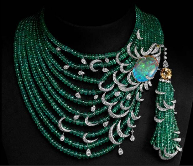 CARTIER. Emerald, opal and diamond necklace with yellow diamond solitaire.: Cartier Emeralds, Diamonds Solitaire, Jewelry, Jewels, Yellow Diamonds, Diamond Necklaces, Opals, Peacock, Diamonds Necklaces