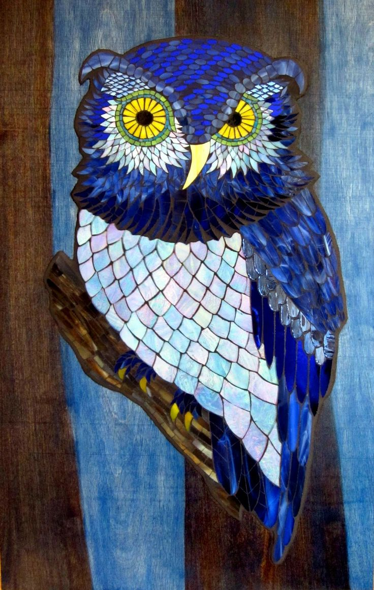 "Night Owl - Stained Glass Mosaic on Wood - 26"" x 16"" - Kasia Mosaics Online Store - Kasia Polkowska - Colorado"