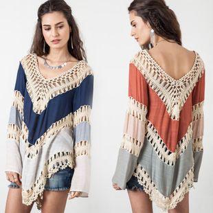 2015 Summer NEW Womens Beach Cover Up Dresses Crochet Bikini Long Sleeve Swimwear Bathing Suit Cover Ups Beach Tunic Top