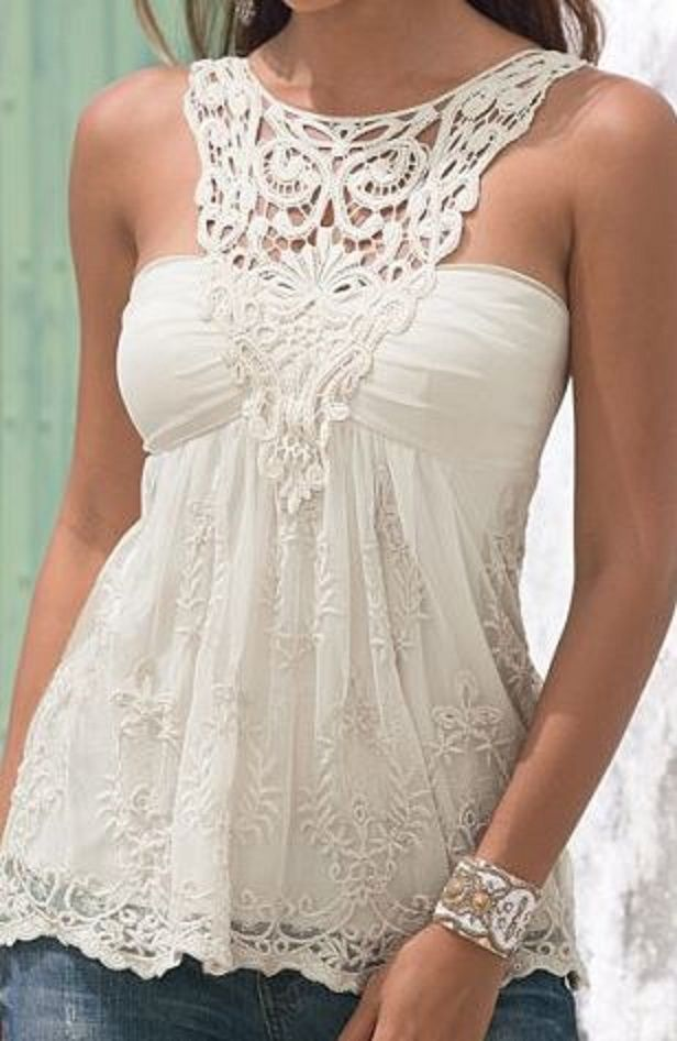Love Love LOVE this Top! Gorgeous White Lace Lace Spliced Backless Tank Top
