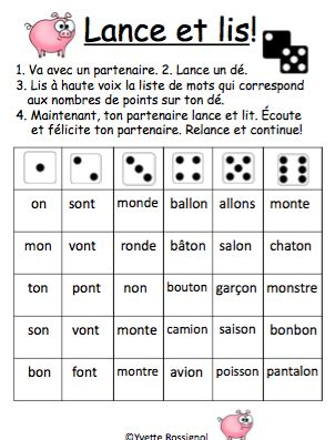 "Jeux de Mots (Le son ""on"") Ateliers, No Prep, French Phonics, French immersion)"