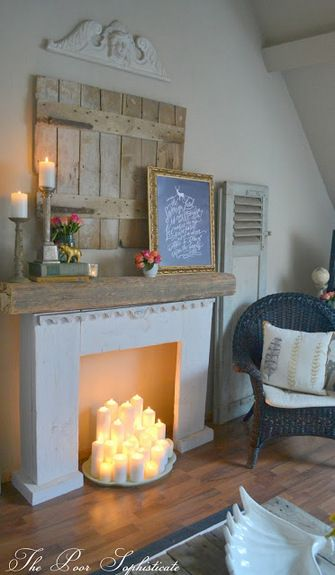 Our Springy, Bohemian, Shabby, Funk, Updated Lounge..fausse cheminée