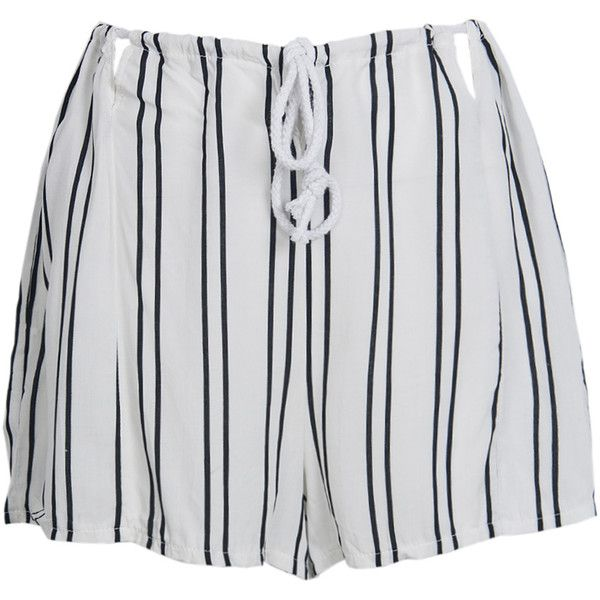 White Stripe Pleated Drawstring Waist Cut Out Detail Culottes ($18) ❤ liked on Polyvore featuring pants, capris, shorts, woven pants, white pants, white striped pants, cut-out pants and draw string pants