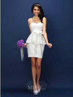 Sheath/Column Sleeveless Sweetheart Lace Bowknot Short/Mini Satin Bridesmaid Dresses