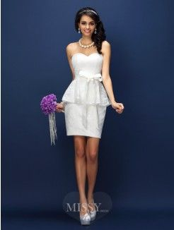 Sheath/Column Sleeveless Sweetheart Lace Bowknot Short/Mini Satin Bridesmaid Dresses