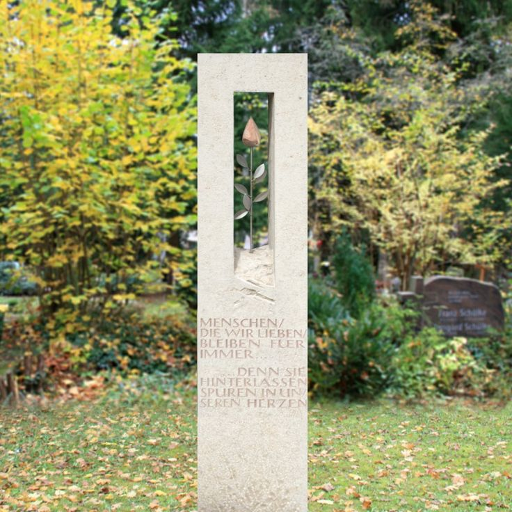 Grabstele Natur Stein mit Rose für Urnengrab - Pianta