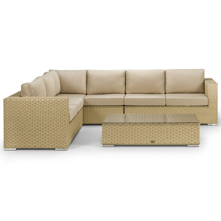Azure Natural Corner Sofa with Coffee Table - This gorgeous sofa set is in the brand new Natural Wicker Style 20mm wide premium rattan. A stunning twin-round rattan weave on the top of the arm gives a great looking contrast and is complimented with brushed aluminium styled feet.
