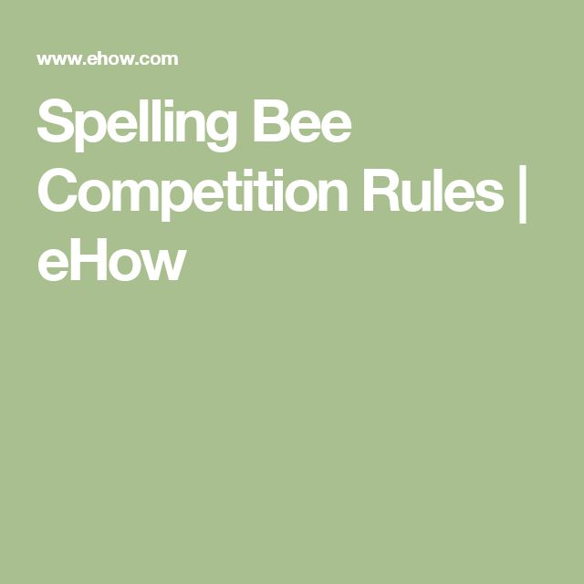 Spelling Bee Competition Rules | eHow