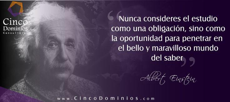 """""""Nunca consideres el estudio como una obligación, sino como la oportunidad para penetrar en el bello y maravilloso mundo del saber"""" Albert Einstein. ¡Feliz Viernes! Visítenos en www.CincoDominios.com – Somos sus aliados en la optimización de la Cadena de Valor de TIC.  #FelizViernes #BuenViernes #TIC #TI #Tecnología #Consultoría #AlbertEinstein"""