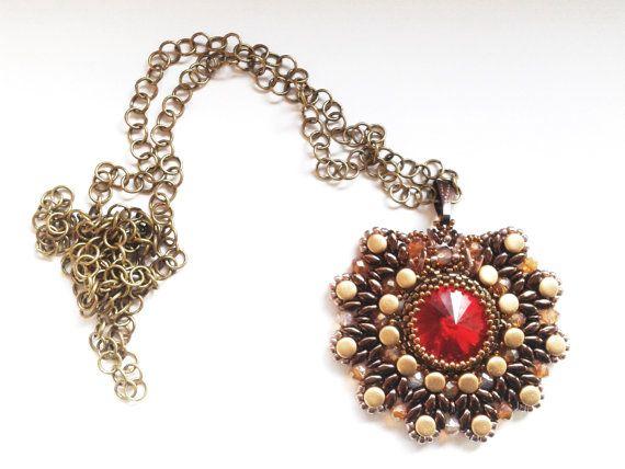 red pendantbeadwoven red pendanthandmade pendantbedwork