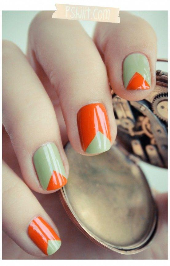 Orange, Colors Combos, Nails Art, Nailart, Nails Design, Triangles Nails, Green Nails, Nail Art, Chevron Nails