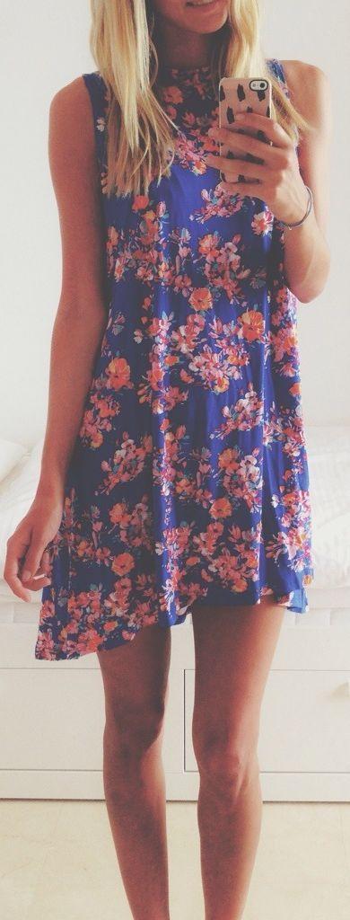 Asos Blue Asymmetrical Hem Floral Sleeveless Summer Dress