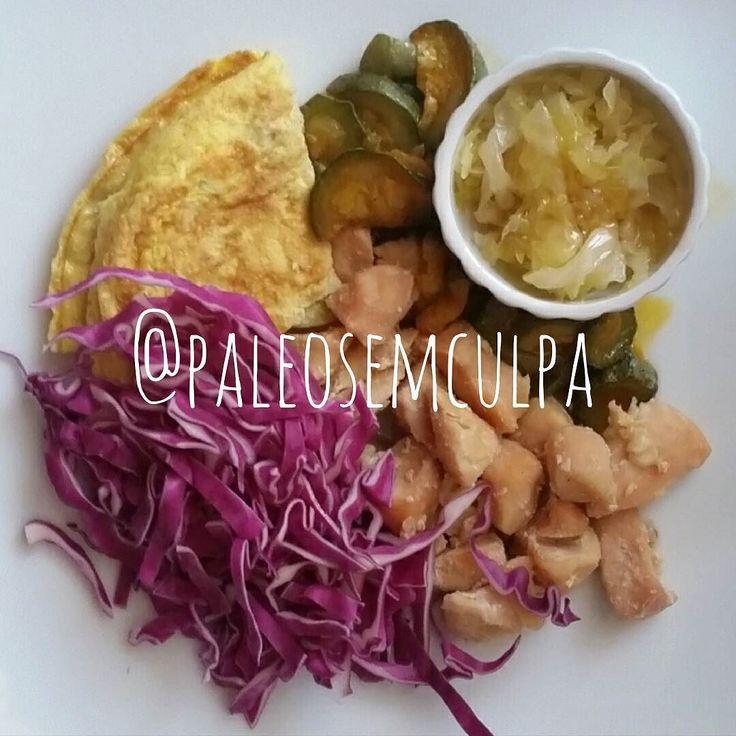 Jantinha de hoje: frango abobrinha na páprica chucrute ovo batido e repolho. Ô trem bão!  Tem dúvidas sobre a paleo? LINK NA BIO! #dieta #dietas #dietasempre #dietasemsofrer #dietapaleolitica #dietapaleo #paleo #paleofood #paleobrasil #paleolitica #paleolife #paleolifestyle #paleodiet #mydiet #eatclean #primal #primalfood #realfood #bixoeplanta #bichoeplanta #eatreal #fit #primalbrasil #fitfood #reeducacaoalimentar #saude #saudavel #vidasaudavel #comersaudavel #semmedodagordura