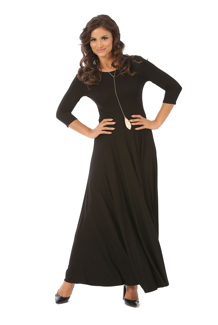 Rochie lunga din vascoza R044 negru de la Ama Fashion