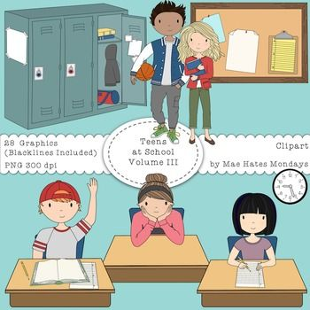 Teens at School Volume 3  More Teenager ClipartMake your secondary and high school activities and presentations stand out using the Mae Hates Mondays Teens at School  Volume 3 Clipart set.What You Get:3 Teenage Girls (both color and black & white)-Teen Girl writing at a desk -Teen Girl (bored or pondering with chin in hands)-Teen Girl standing with book2 Teenage Boys (both color and black & white)-Teen Boy with hand up at desk-Teen Boy holding a basketballA Bulletin Board (both color...