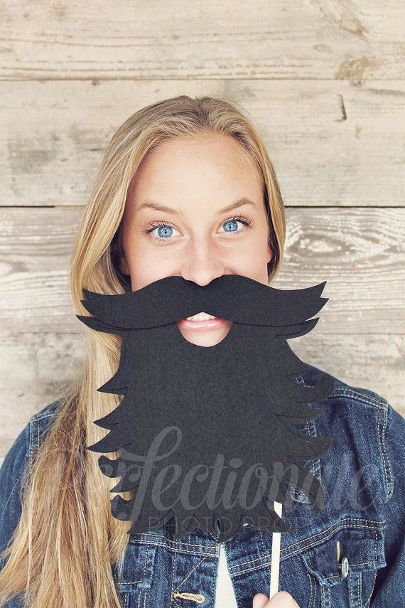 Charming Lumberjack Beard prop is a must-have for your wedding photo booth or party!    Sturdily constructed from multiple layers of black stiff