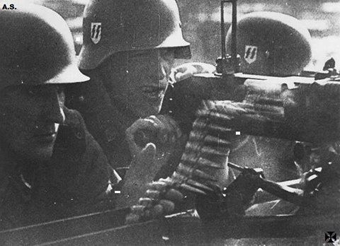 "ostfeldzug: "" Personnel from the 4th SS ""Polizei"" Division utilize a Czech made ZB-53 machine gun. Date/location unknown """