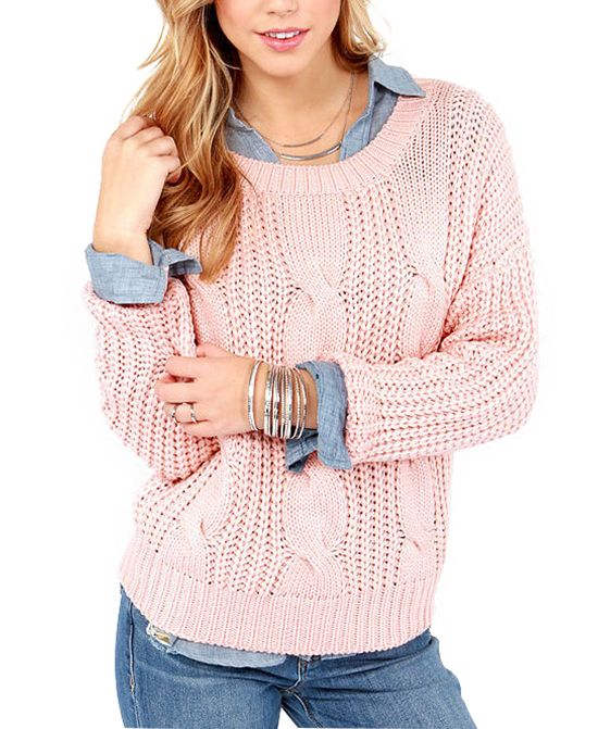 Long Sleeves Pink Knitwear