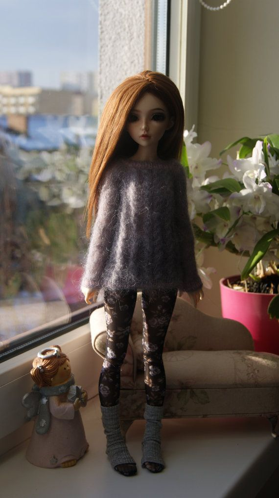 Grey knitted sweater for Minifee MSD BJD 1/4. by CocoDolls on Etsy