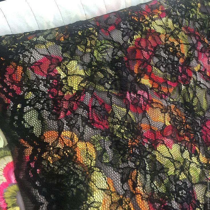 Купить Blumarine вискоза креп стрейч с кружевом , Италия - разноцветный, итальянские ткани, материалы для творчества
