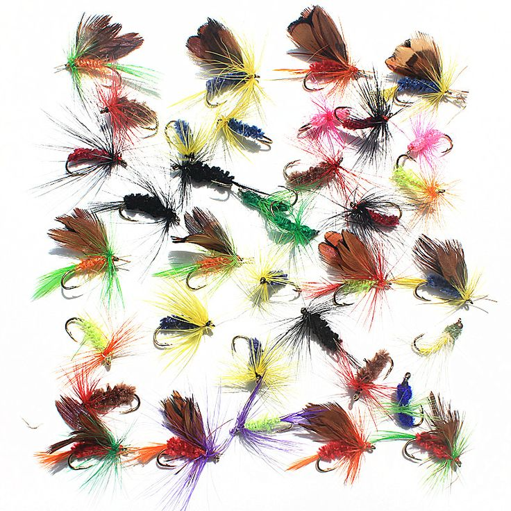 36pcs 4 Style Insect  Fly Fishing Lure Artificial Fishing Bait Feather Single Treble Hooks Carp Fish Lure Water surface
