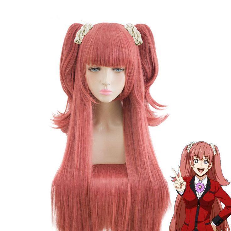 Kakegurui Yumemi Yumemite Long Staight Deep Pink Cosplay Wig Clip on Ponytails  | eBay