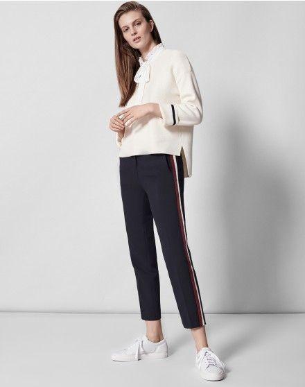 trendy chic women's navy trousers from me+em,Grosgrain Stripe Slim Crop Pant