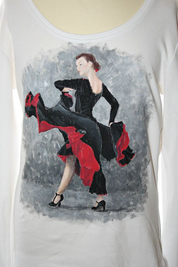 Hand painted t-shirt | Flamenco Dancer tee | 100% cotton jersey tshirt. One-of-a-kind, unique gift.
