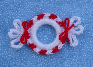 "* Peppermint Candy Ring Ornament - crochet onto 2"" plastic ring with size G hook and worsted yarn"