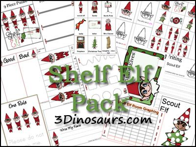 Free Shelf Elf pack! Over 50 pages to go with the Elf on the Shelf - 3Dinosaurs.com
