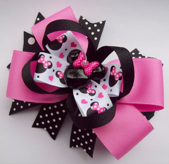 Pink And Black Minnie Mouse Head Hair Bow by JustinesBoutiqueBows