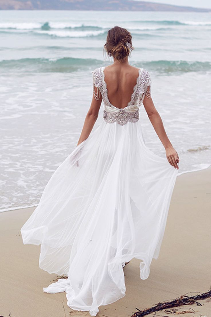 Sierra Silk Wedding Dress Anna Campbell Jewel Encrusted Beaded Bodice With Embellished Shoulders