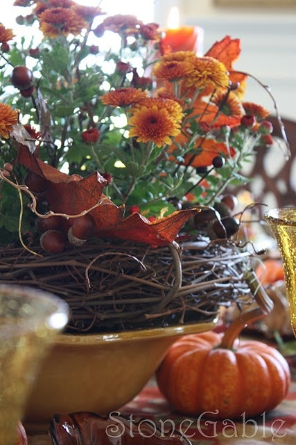 mums, bowl, and grapevine wreath: Ideas, Fall Decor, Mums Centerpieces, Fall Autumn, Fall Brunch, Mums Makeovers, Grapevine Wreaths, Brunch Tablescapes, Makeovers Magic